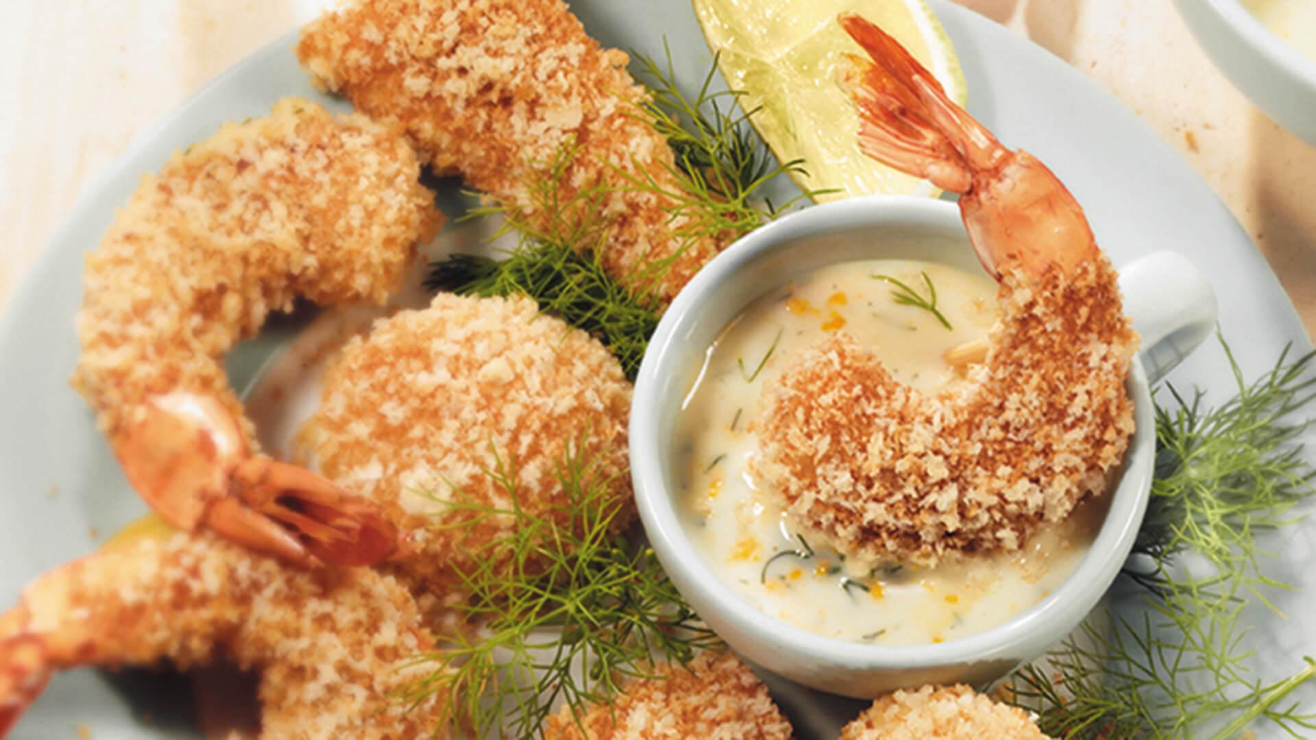 Crevettes dorées à la sauce et à l