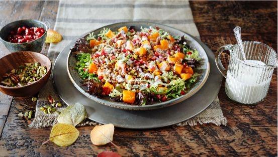 Courge rôtie, lentilles, roquette, graines de citrouille, salade de pomagranate dans un bol
