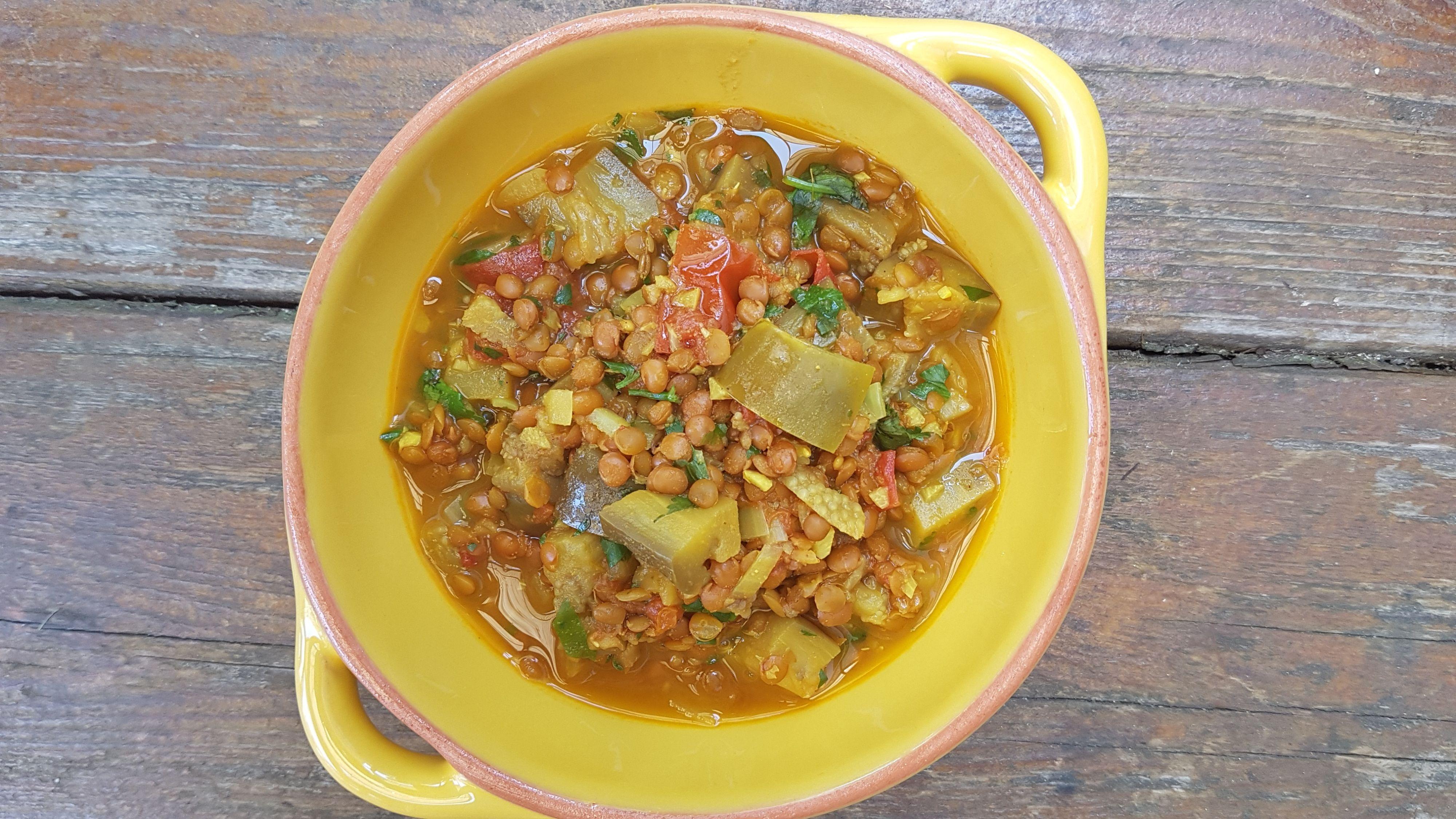 curry aux lentilles aubergine