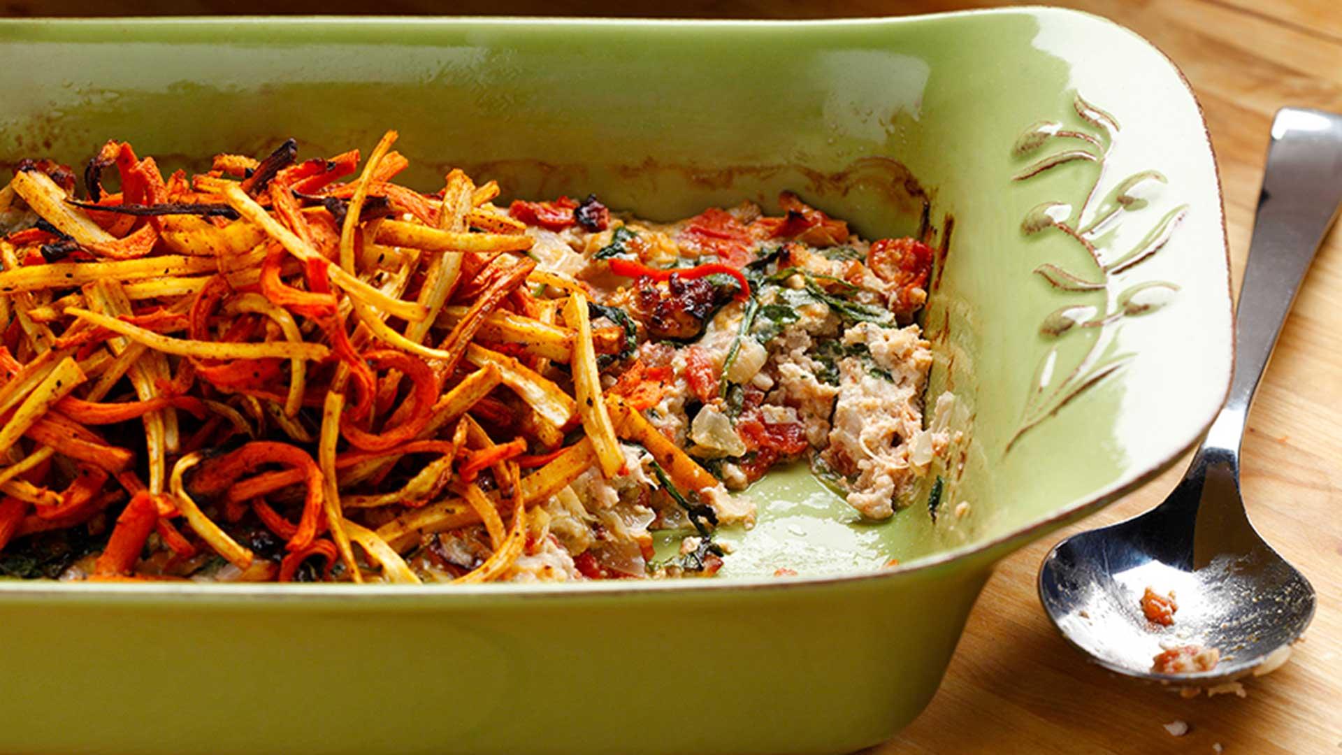 Casserole de dinde avec frites de panais et carotte