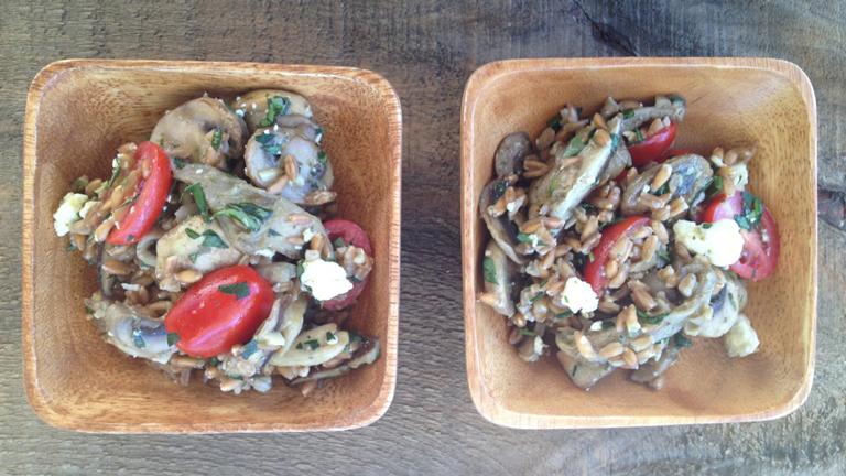Salade d'épeautre et de champignons