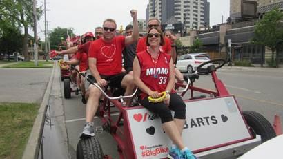 Caroline O'Neil with her Big Bike team