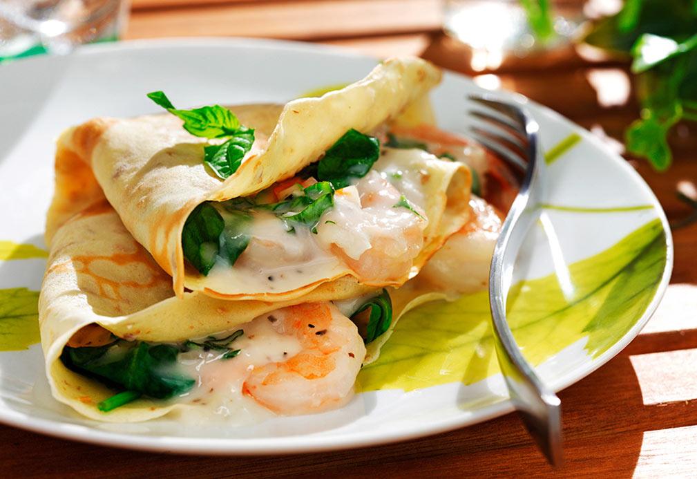 Crêpes farcies aux crevettes, épinards et fines herbes