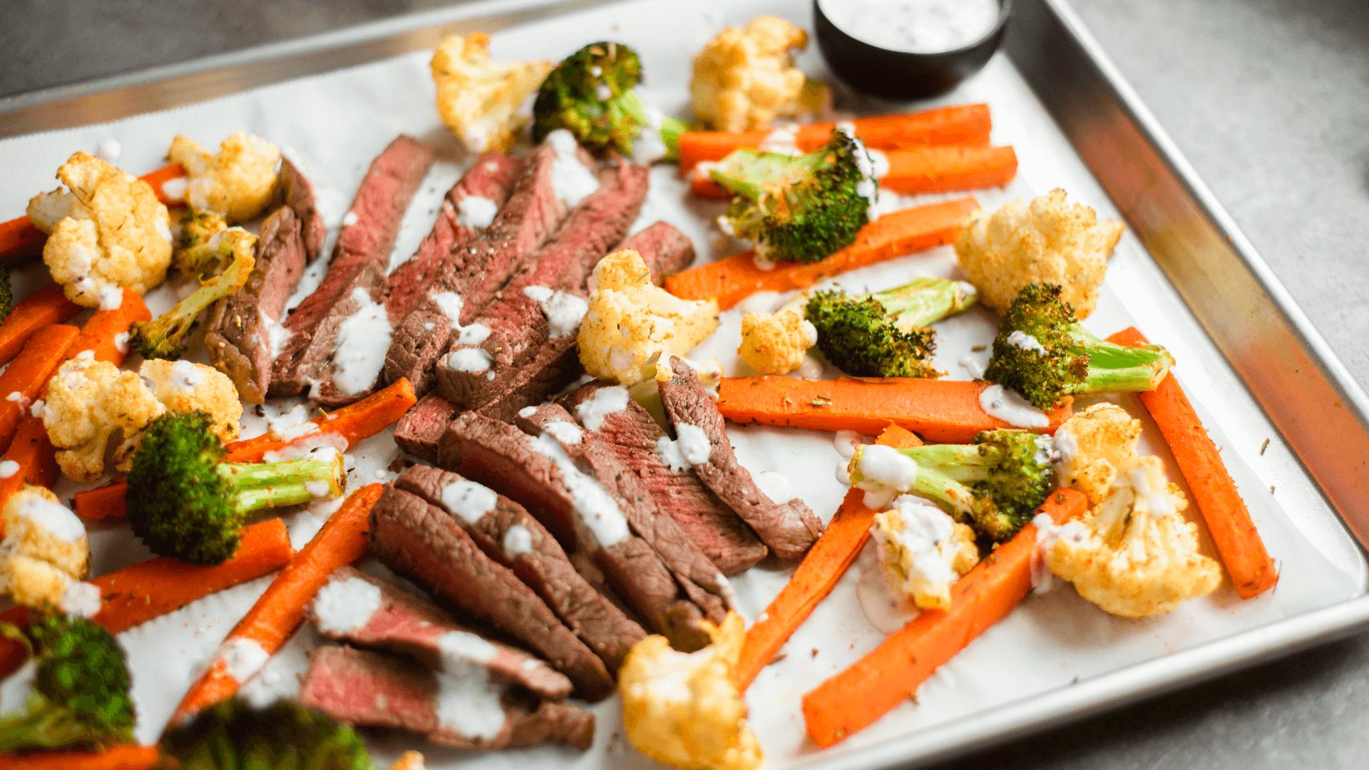 Steak and roasted vegetable sheet-pan dinner